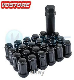 23 Black 6 Spline Tuner 1/2-20 Lug Nuts withKey for Jeep Wrangler Ford Mustang