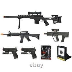 7 PC AIRSOFT GUNS SET SPRING SNIPER RIFLE HAND PISTOLS with 1000 6mm BB BBs Lot