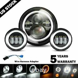 7 inch LED Halo Headlight DRL & 4.5 Fog Passing Lights For Harley Motorcycle