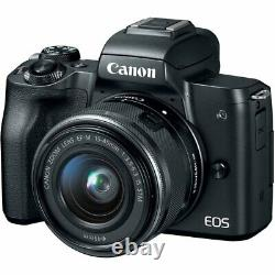 Canon EOS M50 Mirrorless Digital Camera with 15-45mm Lens Professional Bundle