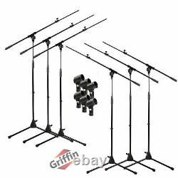 Microphone Stand 6 PACK GRIFFIN Telescoping Boom Arm Mic Studio Stage Tripod