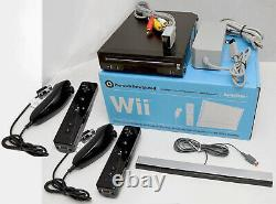 Nintendo Wii Video Game System 2 REMOTE Bundle BLACK Console + NEW ACCESSORIES