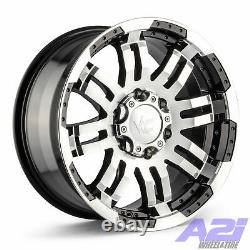 Set 4 15x7.5 Vision 375 Warrior Black Machined Wheels 5x4.75 Rims 2WD with Lugs