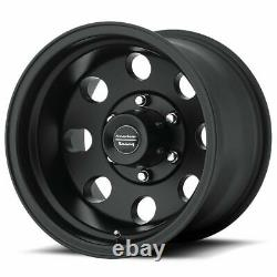 Set 4 15x7 American Racing AR172 Baja Black Rims 5x4.5 -6mm For Ford with Lugs