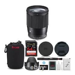 Sigma 16mm f/1.4 DC DN Contemporary Lens for Sony with Accessory Bundle