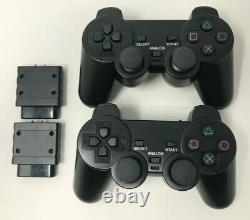 Sony PlayStation 2 PS2 Original Fat Console Bundle + 2 New WIRELESS Controllers