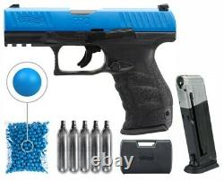 Umarex T4E Walther PPQ. 43 cal Blue Paintball Pistol with 100 Paintballs Bundle