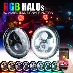 Xprite 7 90W LED Headlights with RGB Halo Rings Bluetooth for 97-18 Jeep Wrangler